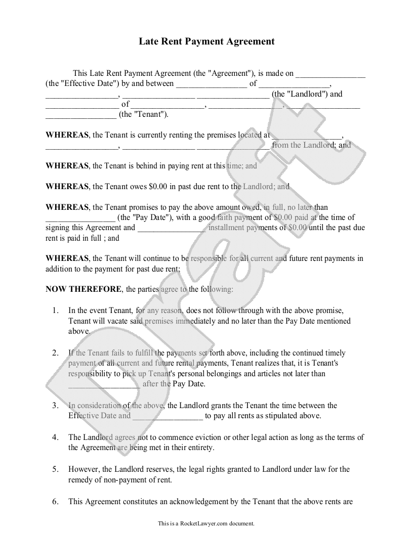 Late Rent Payment Agreement Form (with Sample)   Delinquent U0026 Past Due    Late  Legal Promise To Pay Document