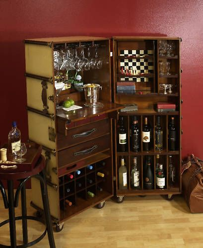 Ivory Stateroom Steamer Travel Trunk Bar, Portable Bar Portable - bar f rs wohnzimmer
