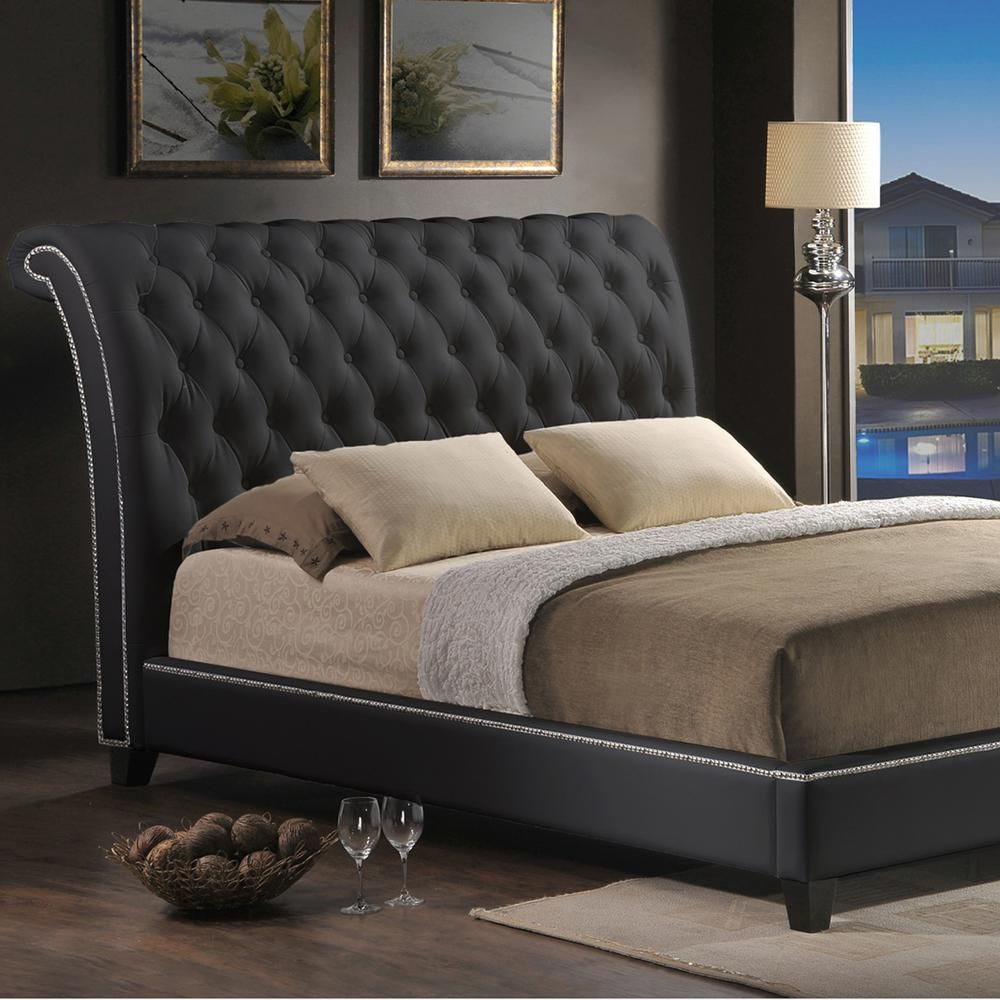 2dfdbcba41fcdf Jazmin Transitional Black Faux Leather Upholstered King Size Bed ...