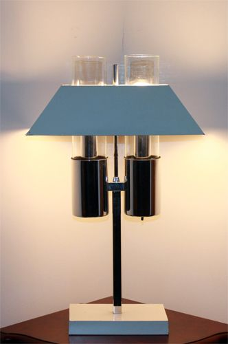 RAYMORE VINTAGE METAL + GLASS + CHROME TABLE LAMP   SOLD