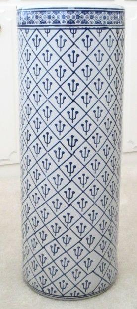 Tall Delft Ceramic Umbrella Stand Modrobila