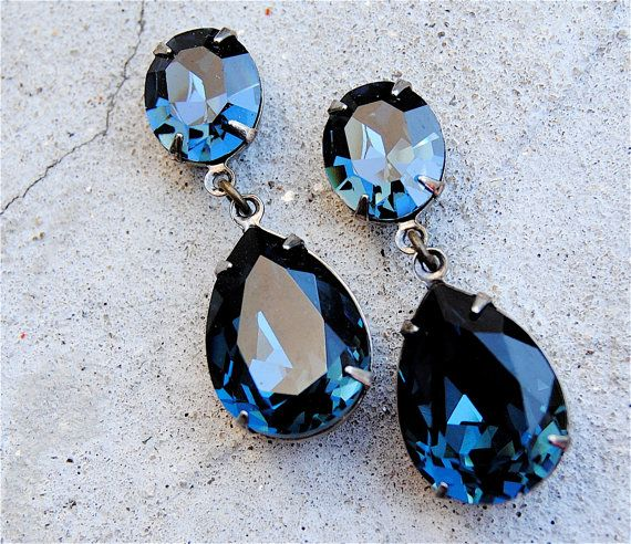 Vintage Navy Blue Earrings Swarovski Crystal Tear Drop Post Dangle Or Clip On Rhinestone Pear Ss Hourgl Mashugana