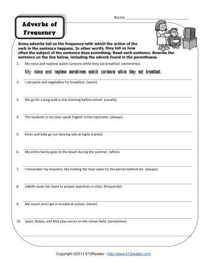 Adverbs Of Frequency Free Printable Adverb Worksheets Adverbs Of Frequency Adverbs Adverbs Worksheet Adverbs worksheet 3rd grade