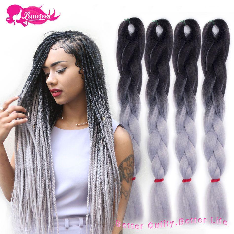 Women Heat Resistant Fiber Ombre Jambo Braids Girl Hair Extension African 24inch Synthetic Braiding Hair Lady Gradient Dreadlock Jumbo Braids Hair Braids