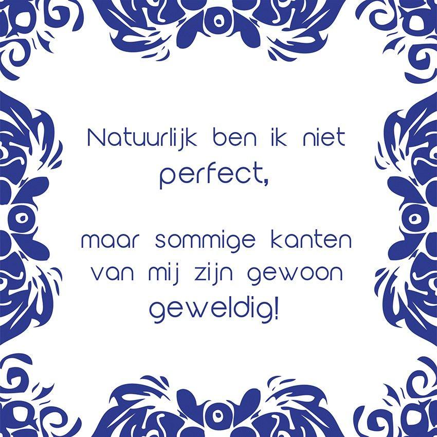 Tegeltjeswijsheid.nl - een uniek presentje - Natuurlijk ben ik niet perfect