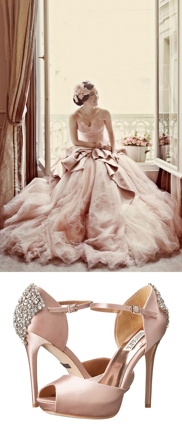 Bridal Style Idea Blush Bridal Gown And Shoes Pink Wedding