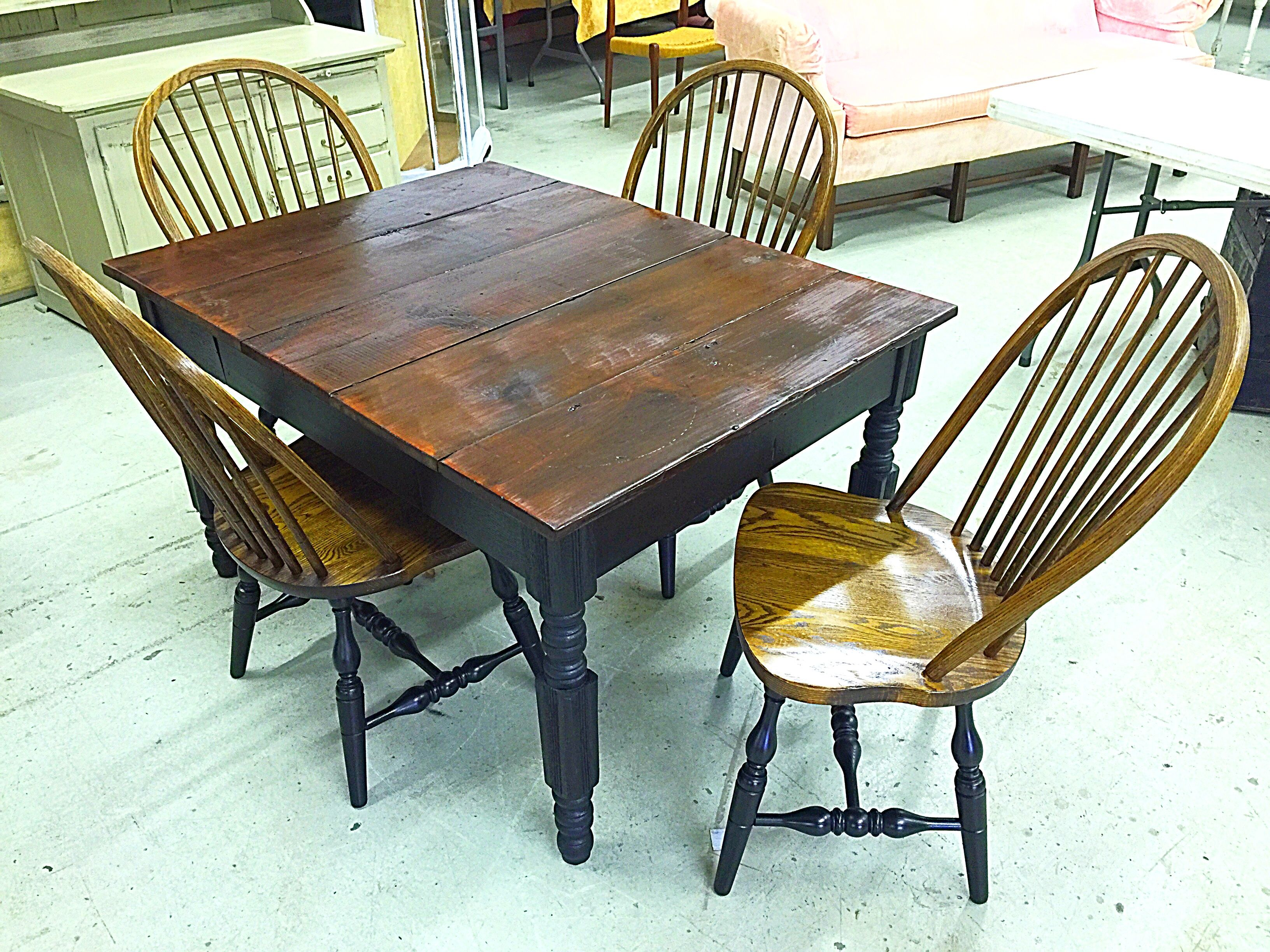 Custom built farm dining table and antique oak chairs