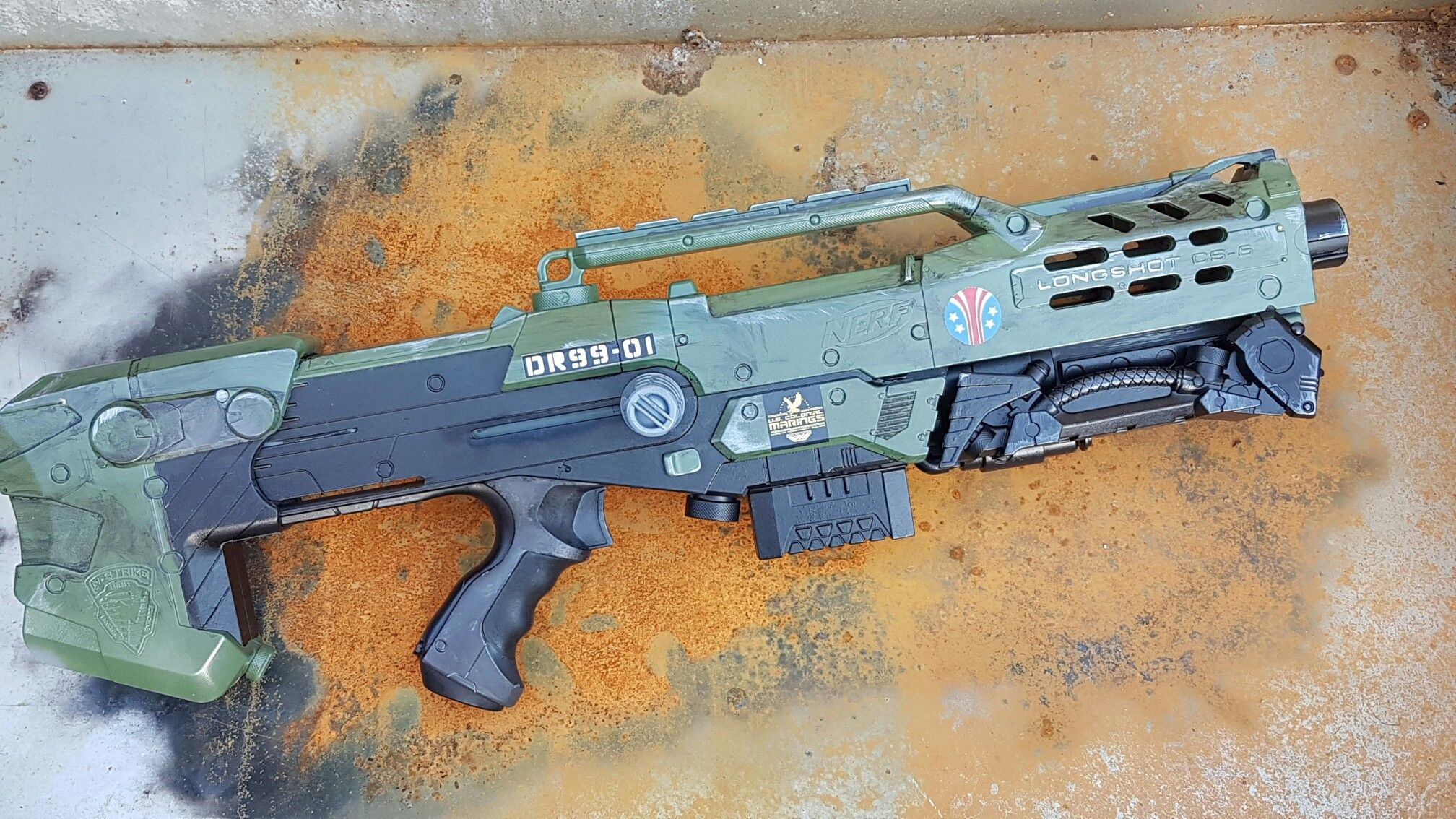 For sale custom painted space marines style longshot. Standard unmodified  internals. Click link at the bottom to ebay listing. #Nerf #nerfgun  #nerfblaster ...