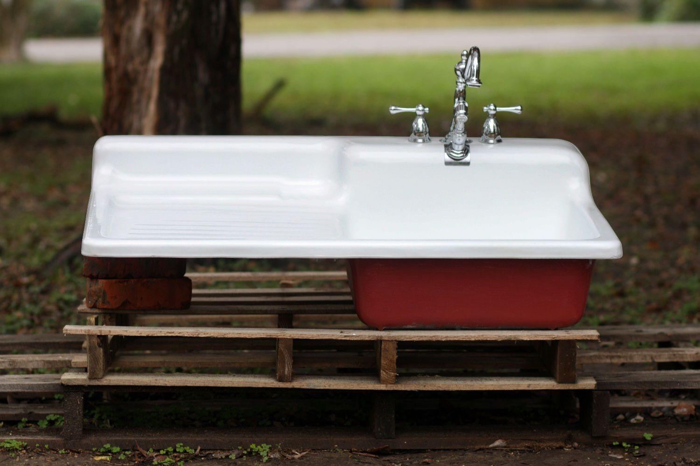 Vintage 1948 Cast Iron Porcelain Red Bottom Drainboard