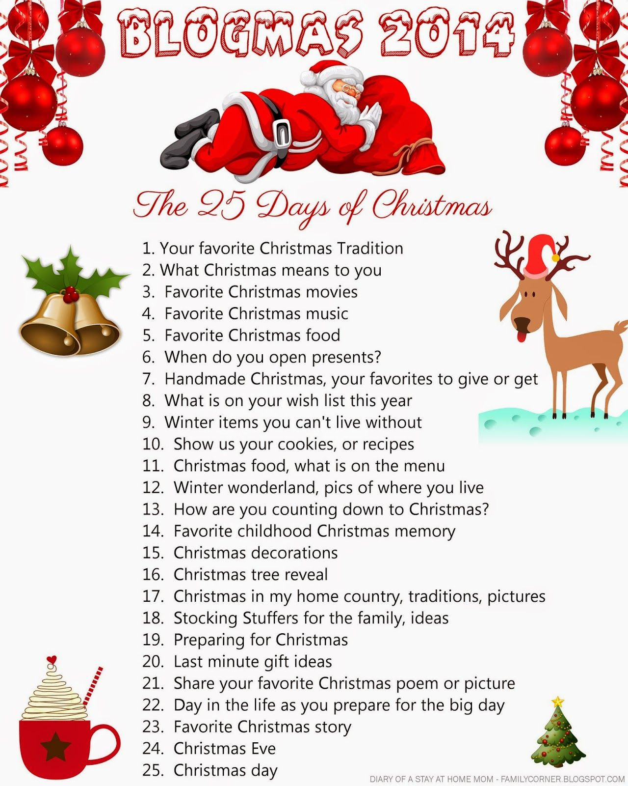 Diary Of A Stay At Home Mom Blogmas 2014 The 25 Days Of Christmas 25 Days Of Christmas Christmas Journal Christmas To Do List