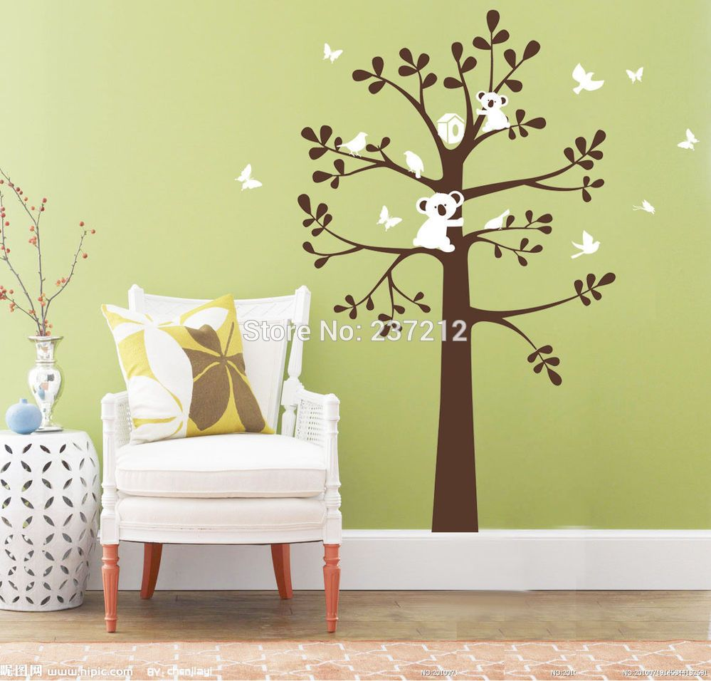 Koala Bird on Tree Wall Decor Vinyl Decal Kids Baby Removable ...