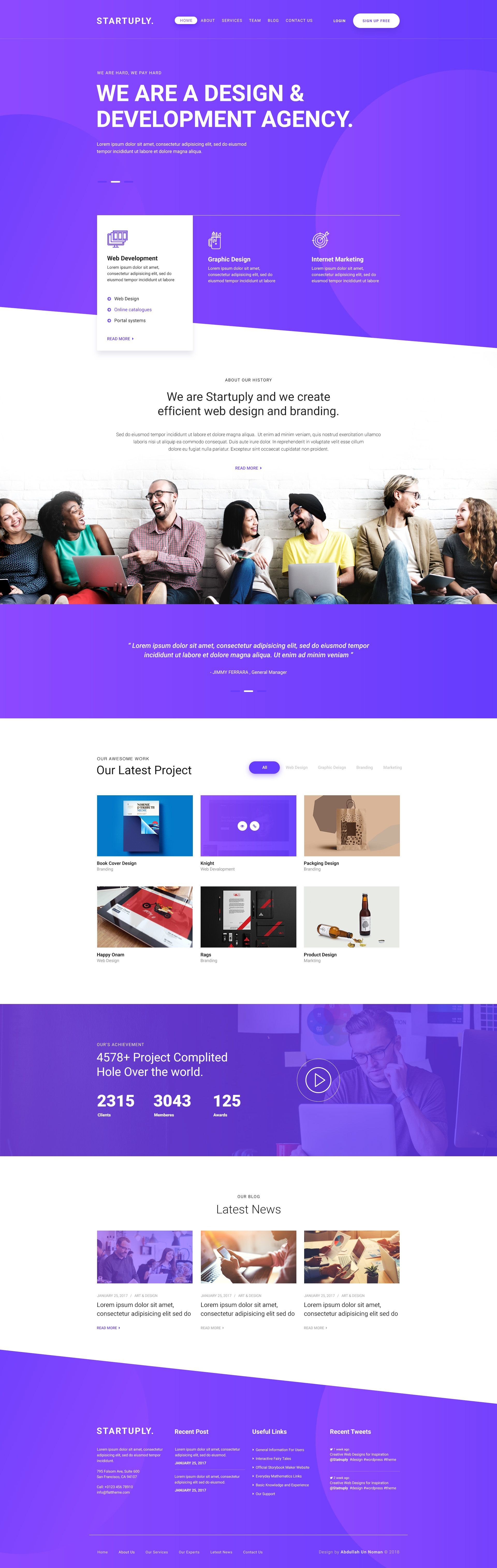 An Experimental Project Startuply Freepsd Psd Designagency Design Webdesign Psd Web Design Web Layout Design Modern Website Design