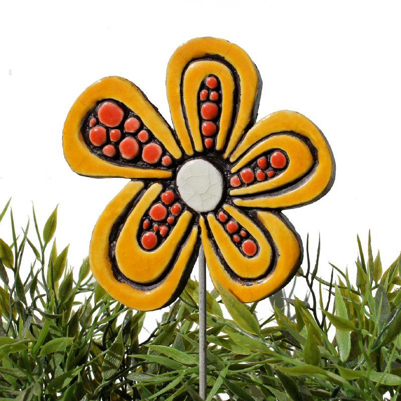 Ceramic flower garden art - dots | Ceramic flowers, Garden art and ...