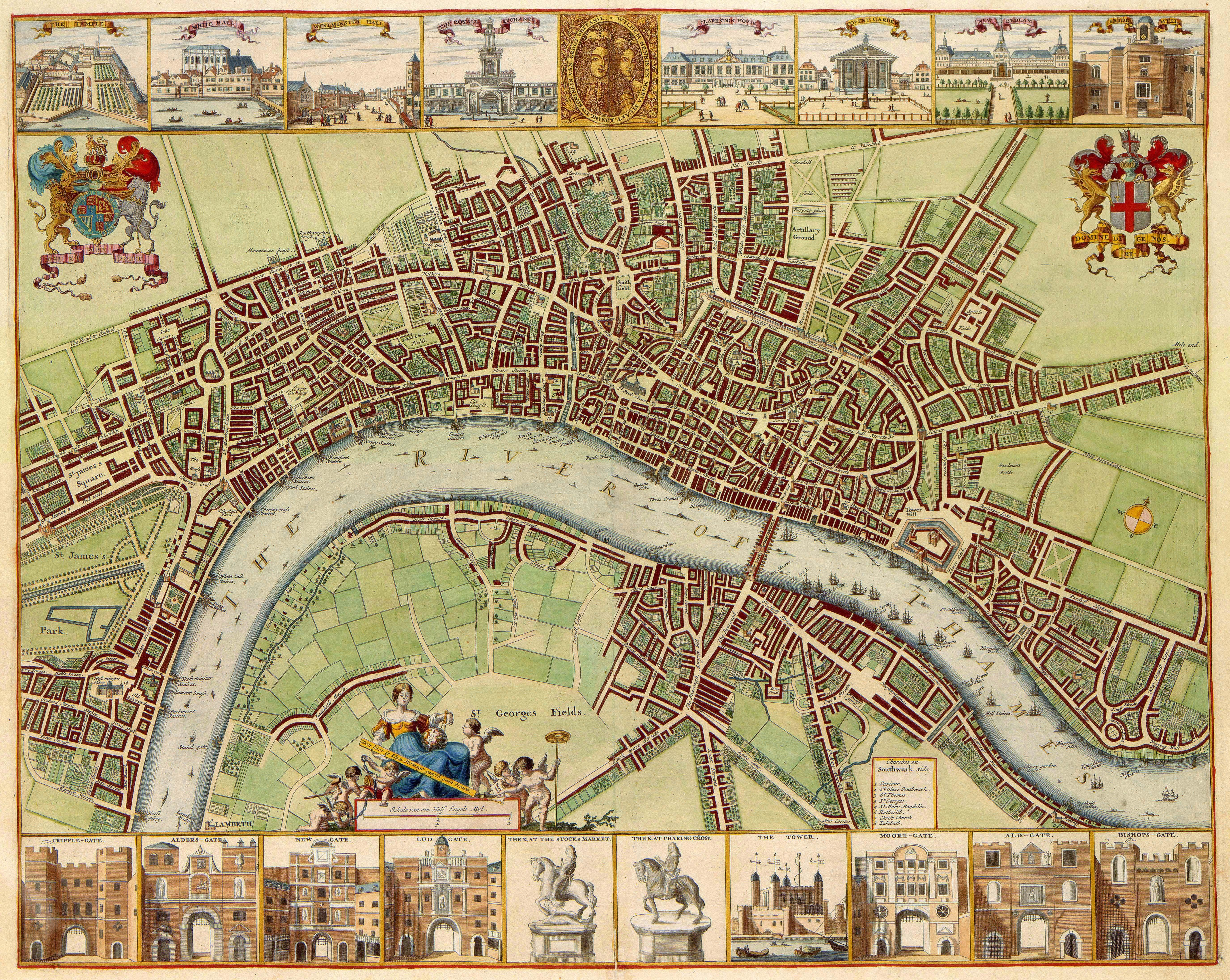 Large 17th century old world style map of london england fine art century london the w hollar map of 1688 from the van der hagen atlas gumiabroncs Choice Image
