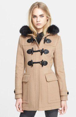 a5b85a54e49a5 Burberry Brit  Blackwell  Wool Duffle Coat with Genuine Fox Fur Trim ...