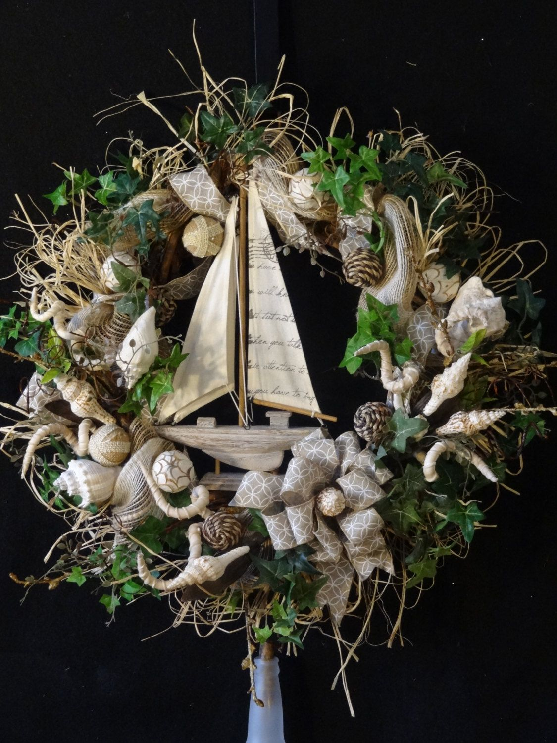 Front door decor for all seasons - Sailboat Wreath Nautical Wreath Ocean Themed Wreath Nautical Decoration All Season Wreath Front Door Wreath Tropical Wreath Shell Wreath