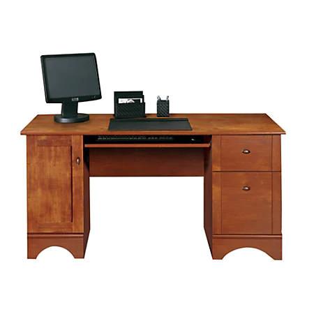 Realspace Dawson 60 W Computer Desk Brushed Maple Office Depot Computer Desk Office Computer Desk Small Computer Desk