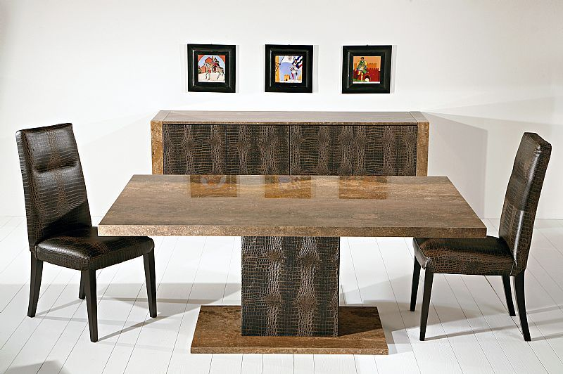 Walnut Marble Table With Alligator Brown High Dining Chairs At Dansk Dining Table Marble Square Dining Tables Marble Dining