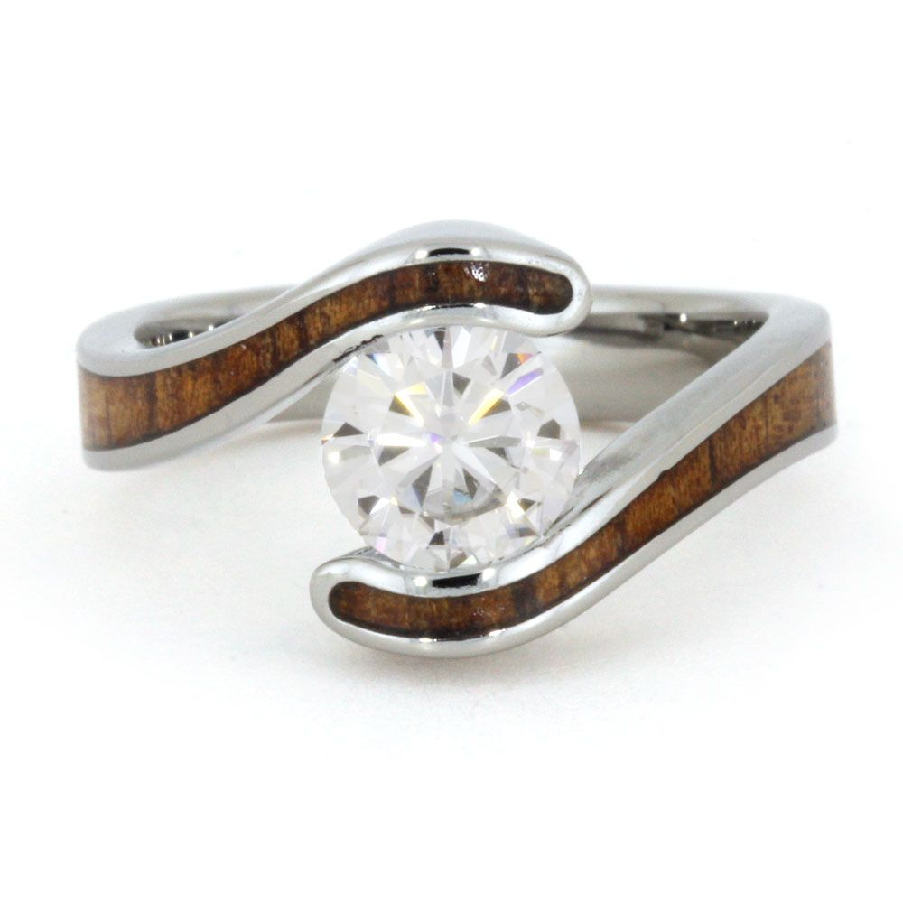 Wood Engagement Ring Set With Moissanite Stone And Koa
