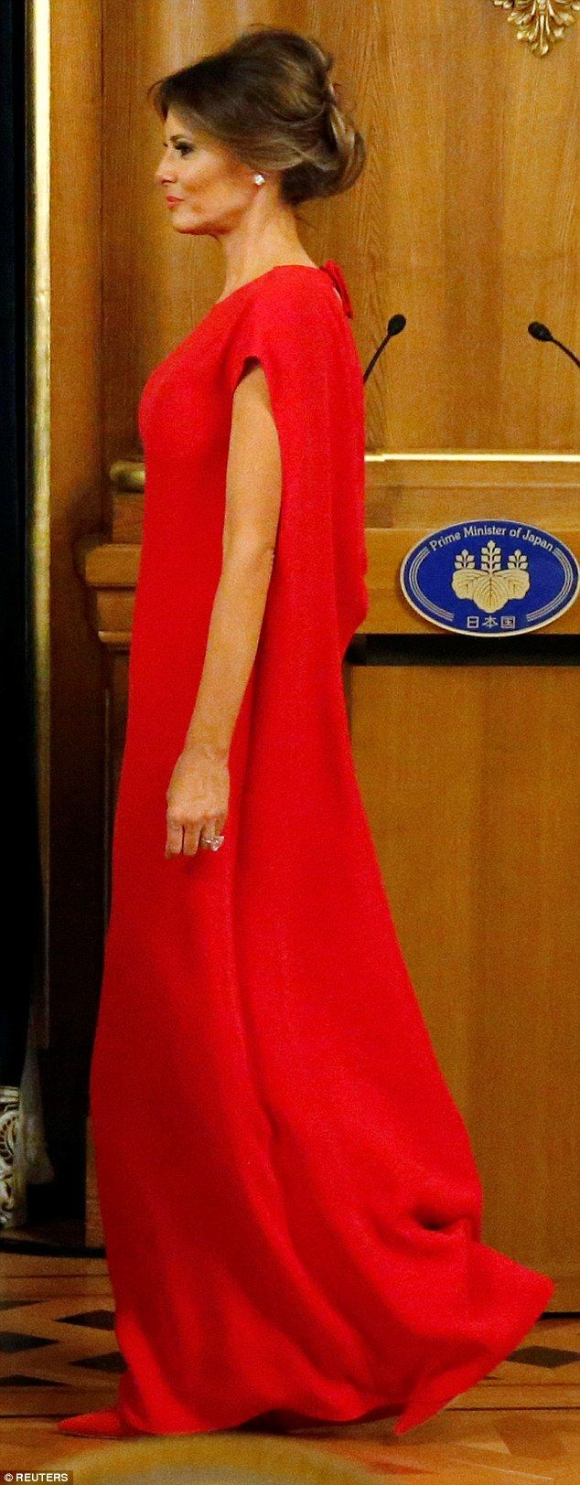 Official: Melania Trump cut a glamorous silhouette as she joined a state banquet in Tokyo on Monday night, amid her and her husband's 12-day trip around Asia