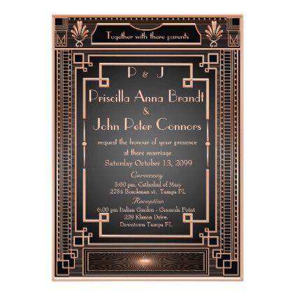 Wedding invitation card,Art Deco, black, pink gold | Zazzle.com