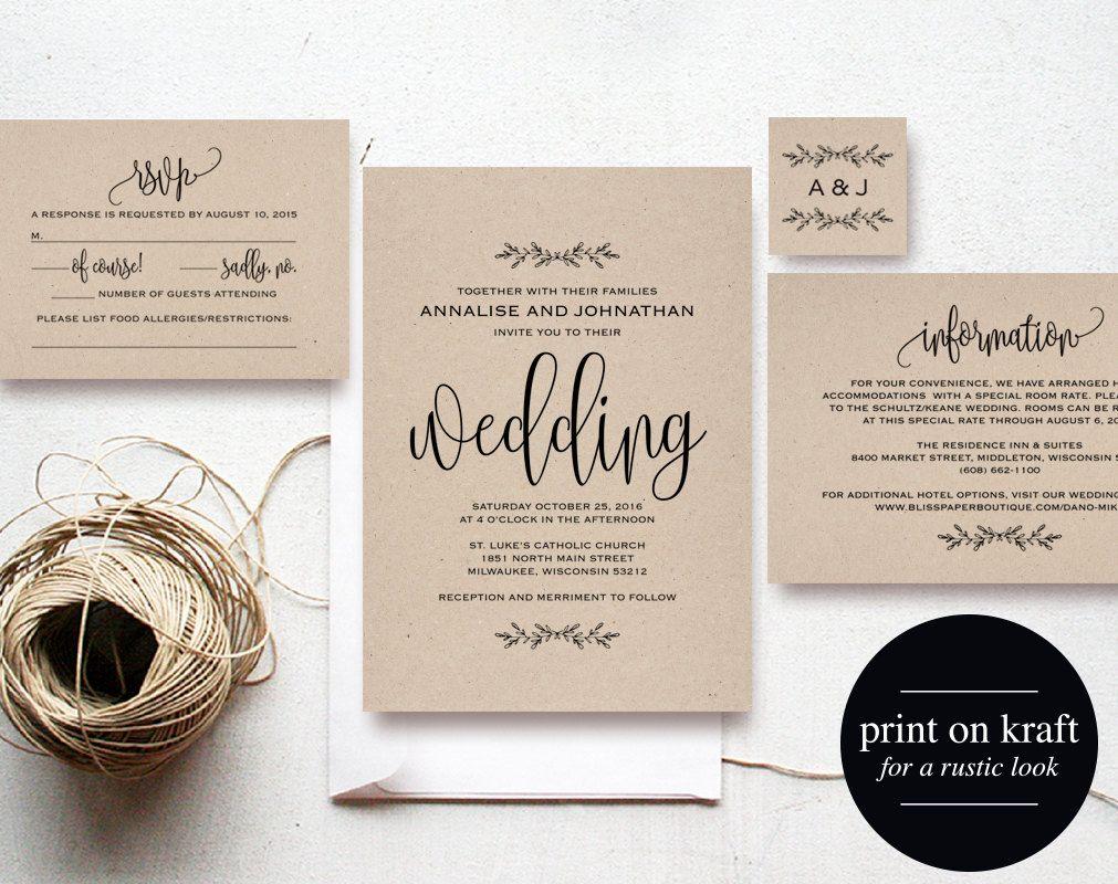 Kraft wedding invitation printable rustic invitation set invite