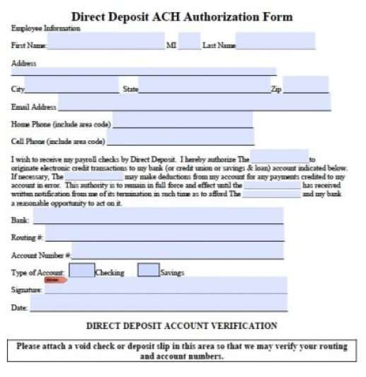 Generic Direct Deposit Form Template 57941 Special Templates