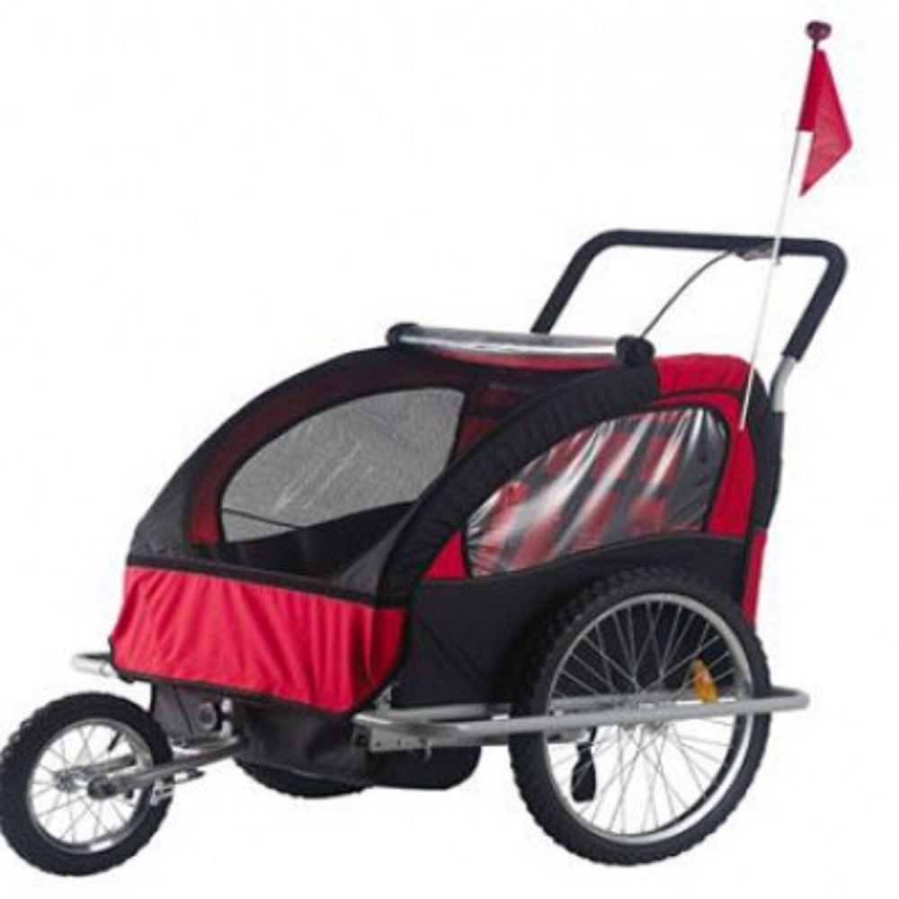 2 in 1 Double Child Bike Trailer and Stroller Bicycle