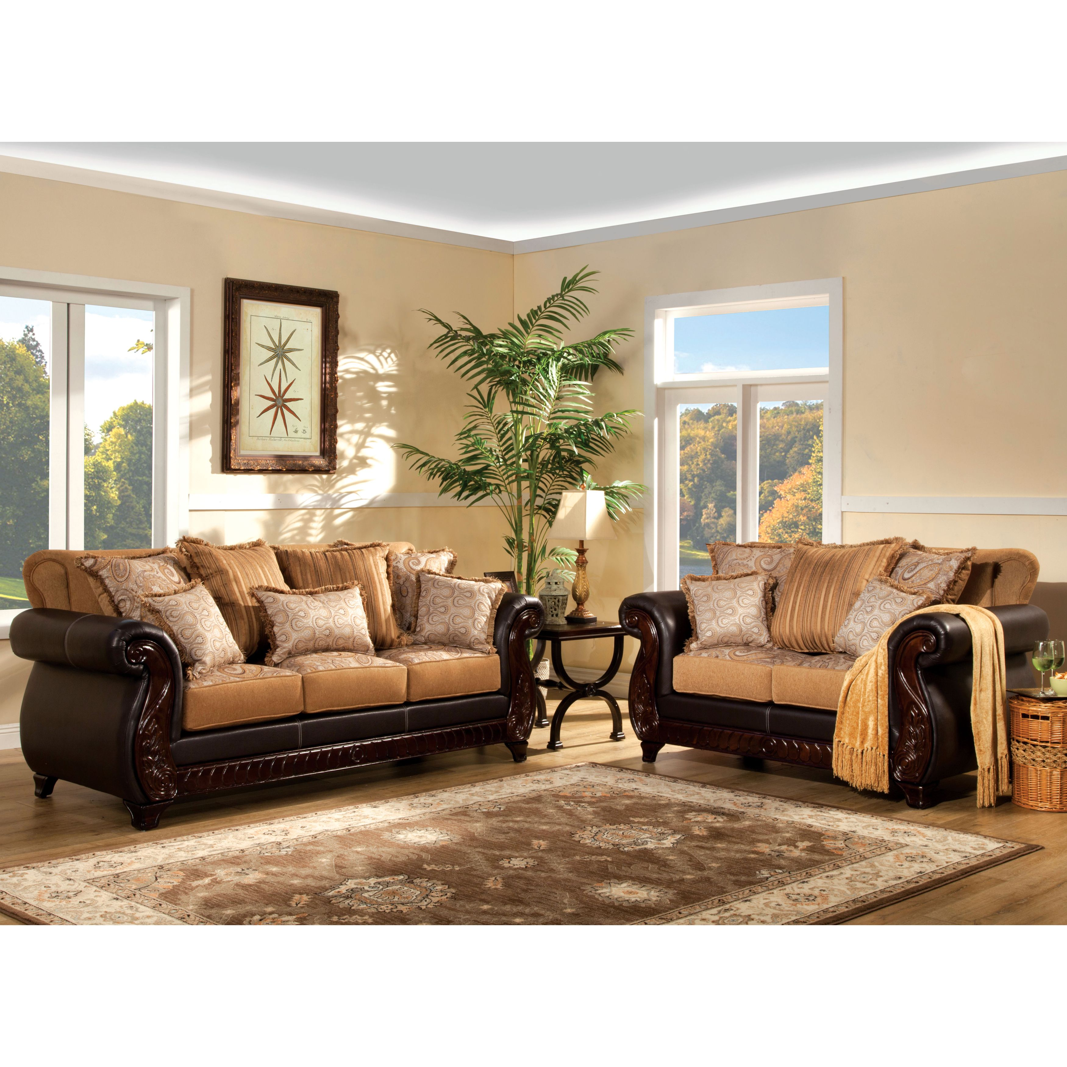 This traditional style sofa set combines fabric