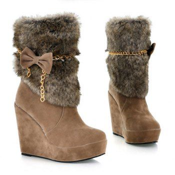 Women'S Boots Bows And Metal Chains Wedge