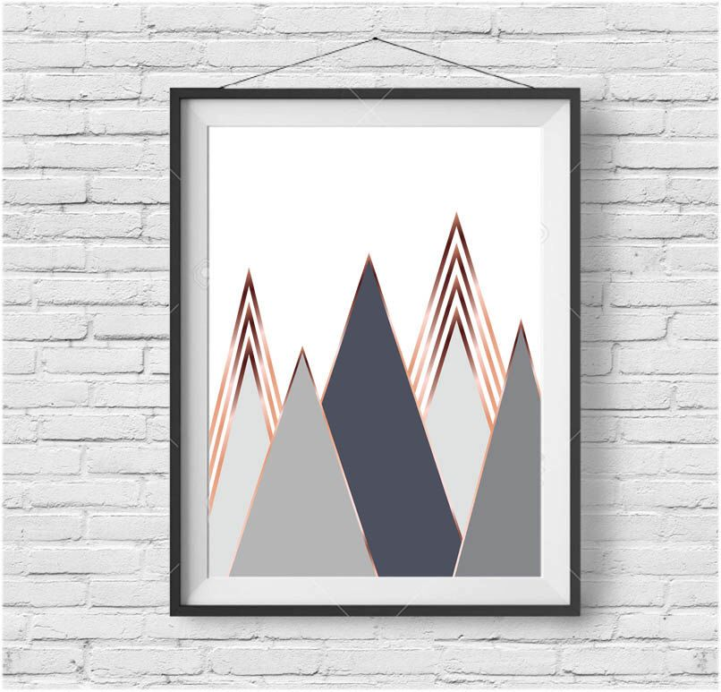Gray Mountain Art Scandinavian Print Copper Wall Art Rose Gold ...