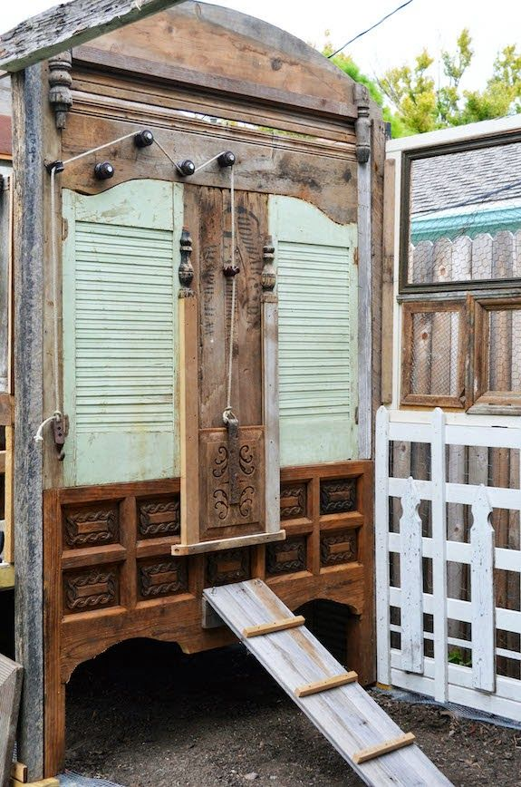 Coop Wall And Door Pulley System Made Of Reclaimed Materials: Shutters, Old  Bed,