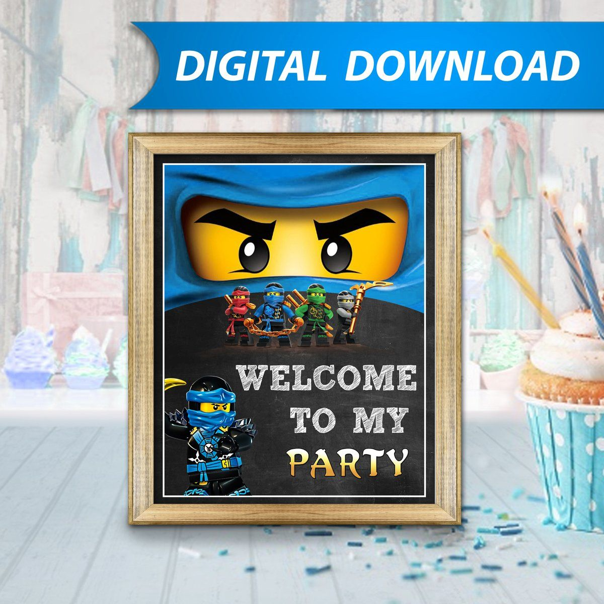 Personalised DIGITAL NINJAGO BLUE JAY Kids Birthday Invitations YOU PRINT
