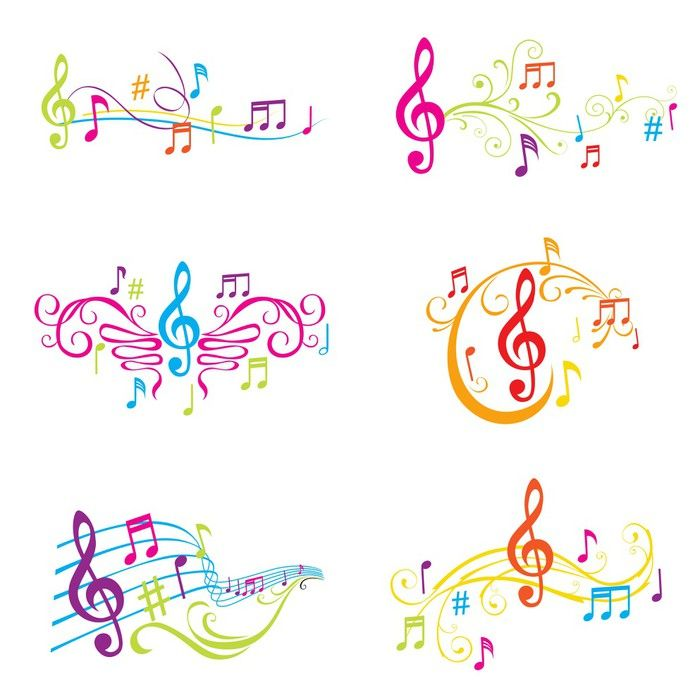 Set of Colorful Musical Notes Illustration - in vector Sticker • Pixers® - We live to change