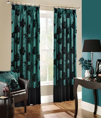 Black And Turquoise Curtains - Curtains Design Gallery