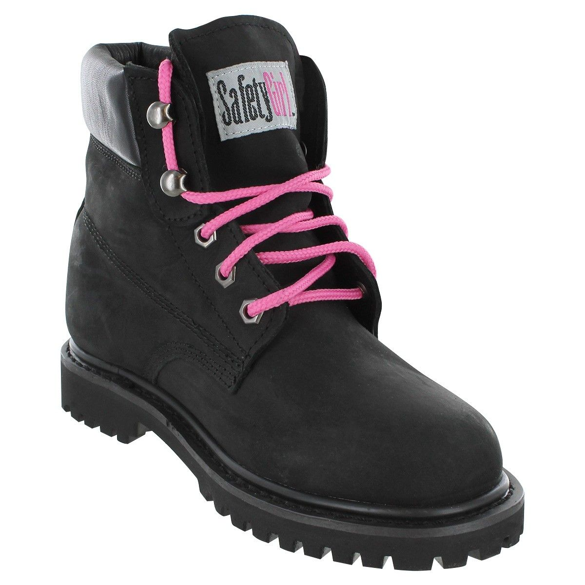 LADIES WOMENS BLACK LEATHER STEEL TOE CAP SAFETY ANKLE WORK BOOTS SHOES TRAINERS