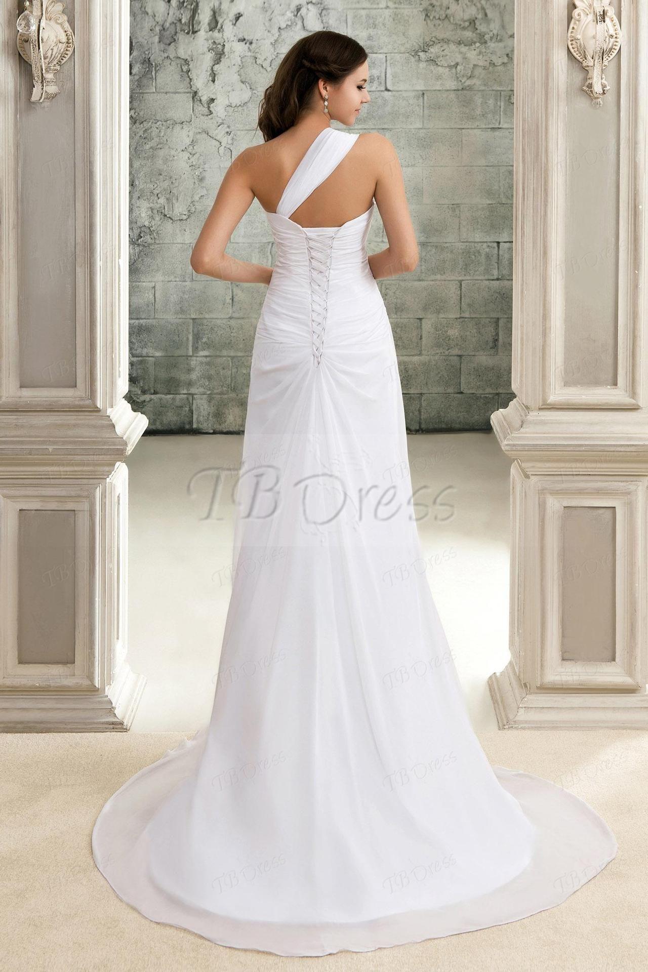 Lace strap wedding dress  One Strap Wedding Dresses u via Elegant ALine OneShoulder Laceup