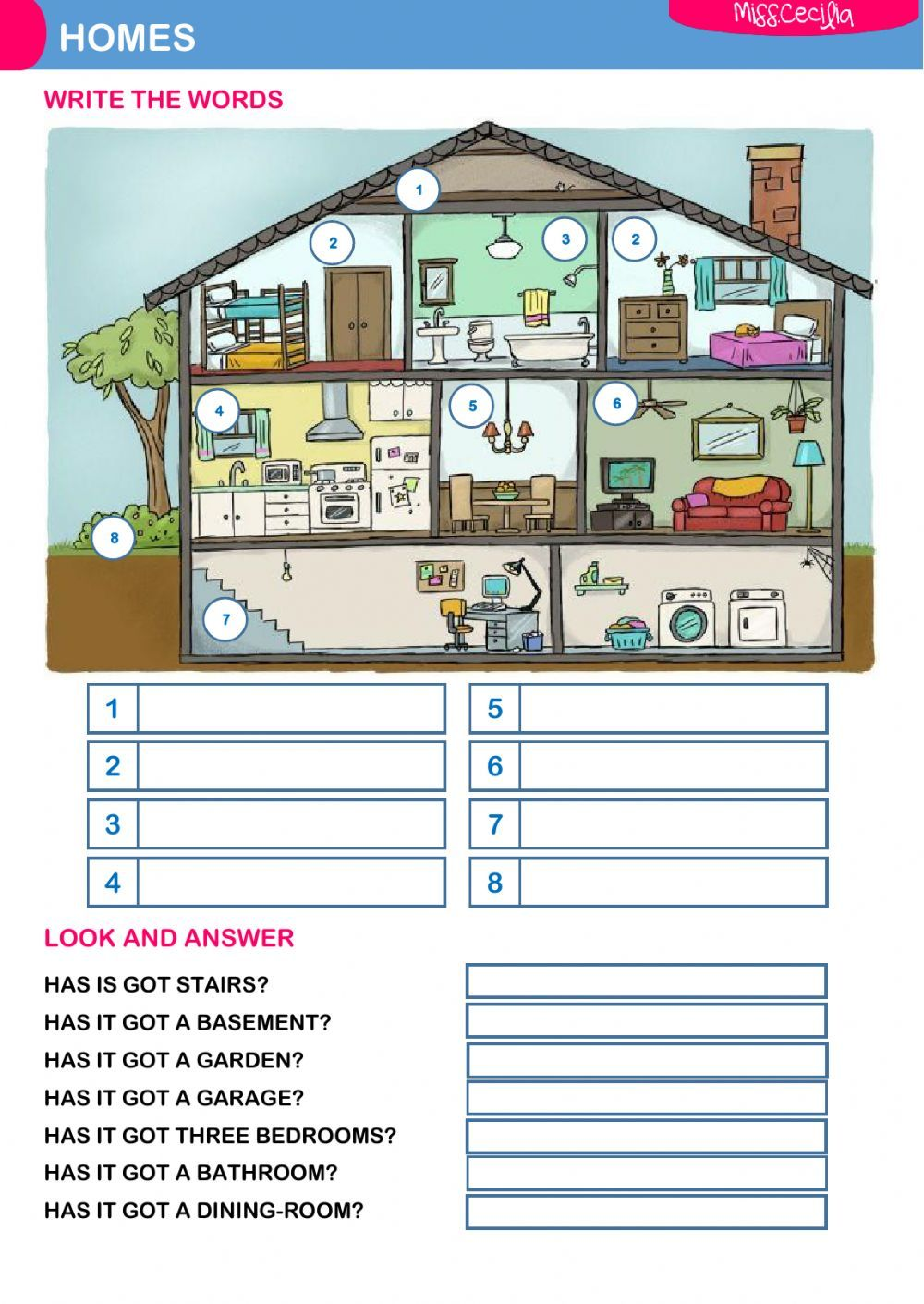 The house interactive and downloadable worksheet. You can do the exercises  online or download the worksheet as pd…   Worksheets [ 1411 x 1000 Pixel ]