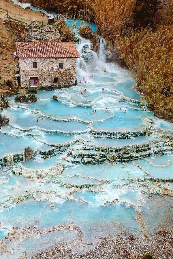 Cascate del Mulino Saturnia With a population of only 280 this Tuscan town is nothing short of stunning These aquamarine hot springs are a sight to see and beyond their b...