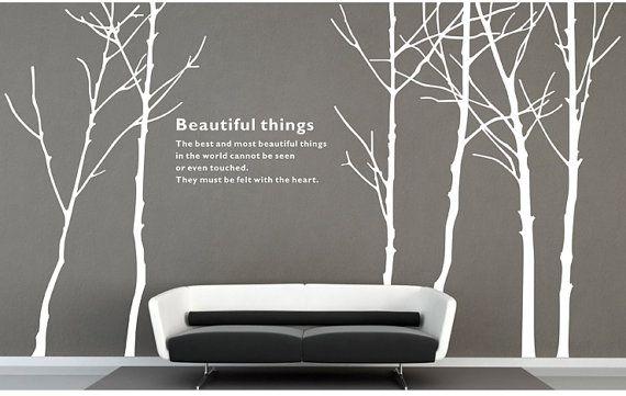 8fcbc3e81b14 Winter trees Wall decals Vinyl Removable Tree Wall by LovinDIY, $63.90