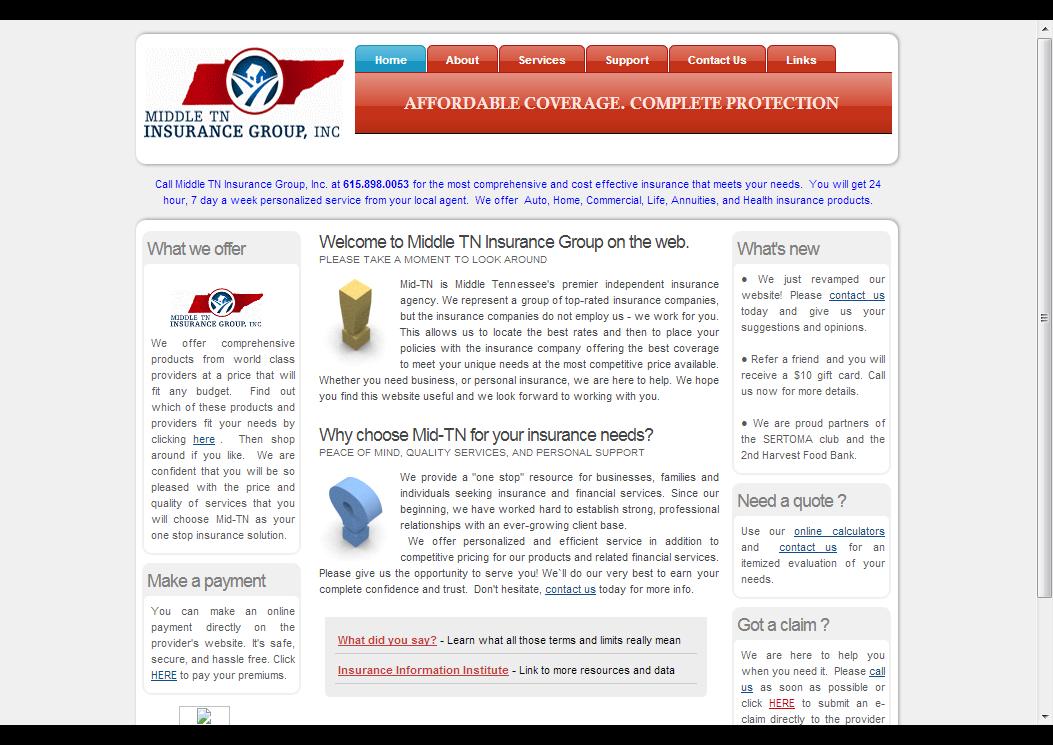 Midddle Tennessee Insurance Website Development