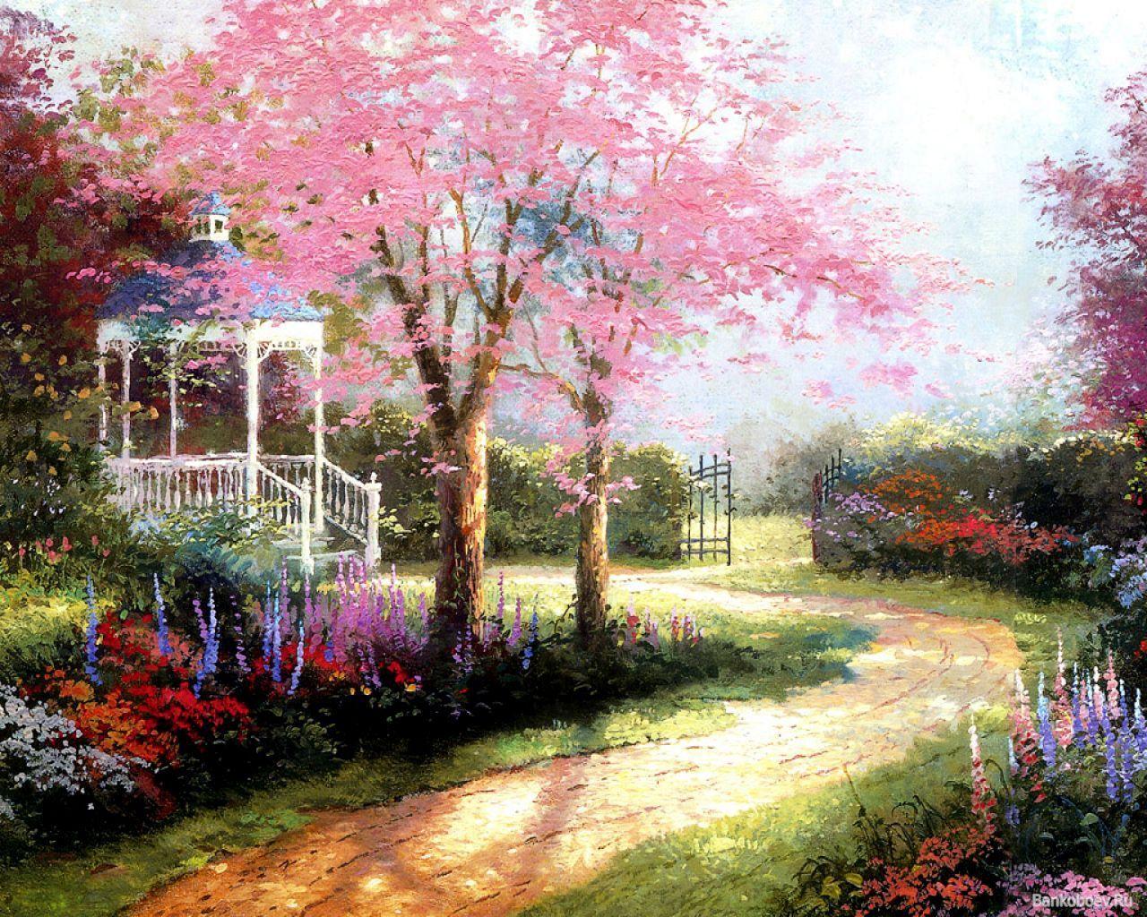 Simple Flower Garden Paintings spring flowers garden | beautiful sweet home | paintings