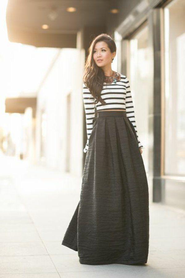 7e2d05b8bfb0e Comment porter une jupe longue     Wedding ideas   Jupe, Jupe longue ...
