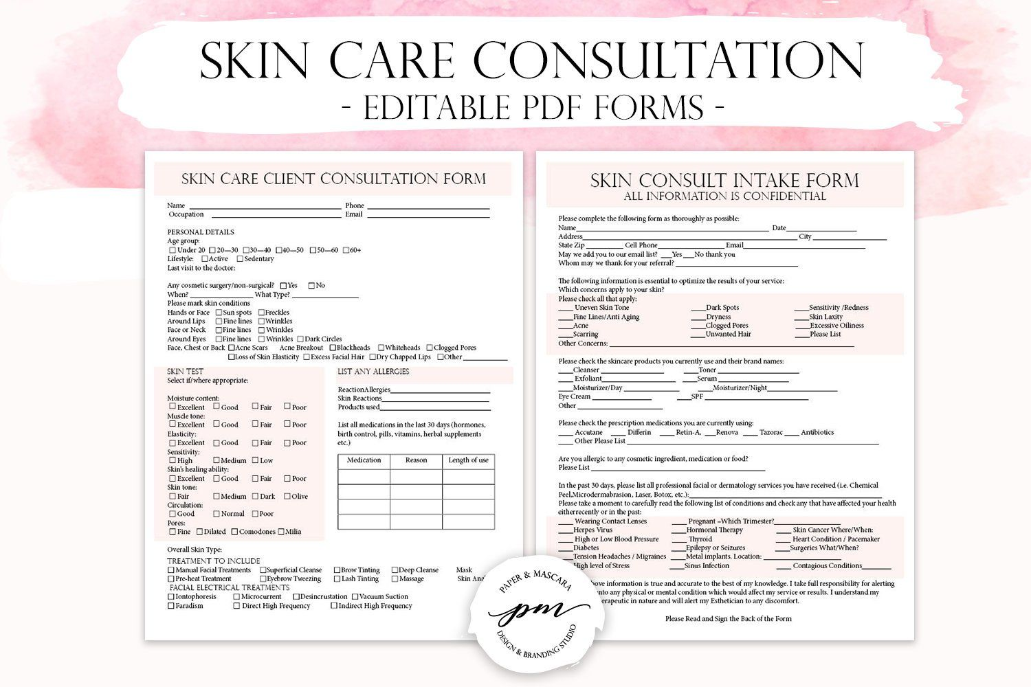 Skin Care Client Consultation Form, Facials Spa Form