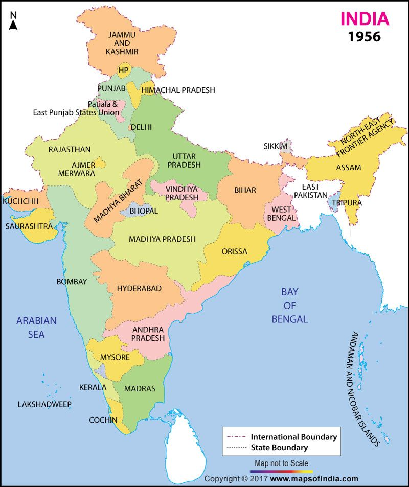state name india all state map Map Of India In 1956 India Map Indian History History Of India state name india all state map