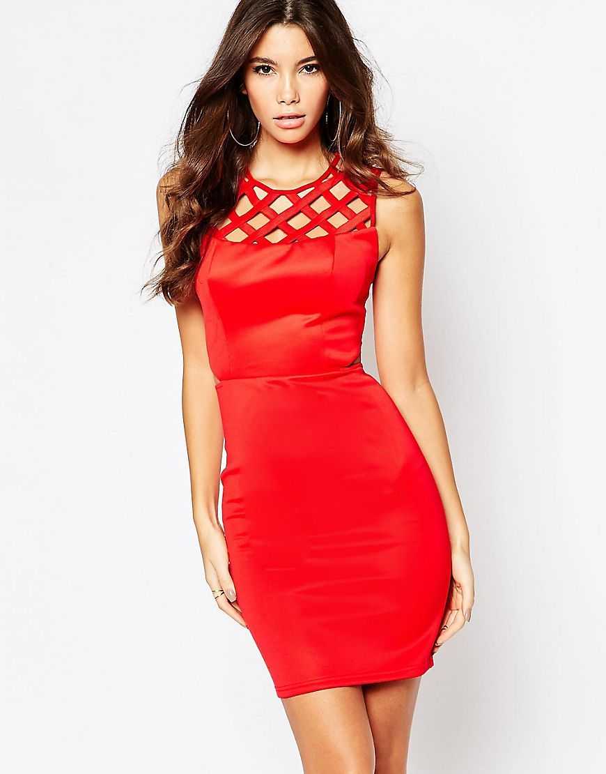 Fleur east by lipsy cage bodycon dress with cut out waist detail