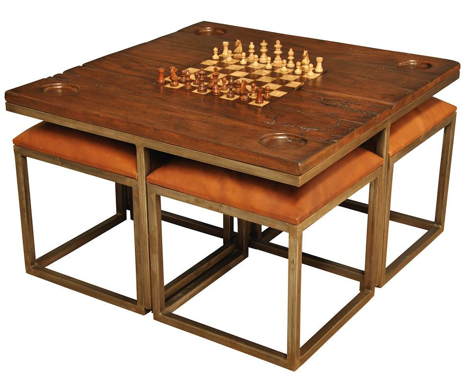 Game Table & Stools Cocktail Antique Wood & Iron Recycle pieces New Ships Free #nowplaying #RusticPrimitive