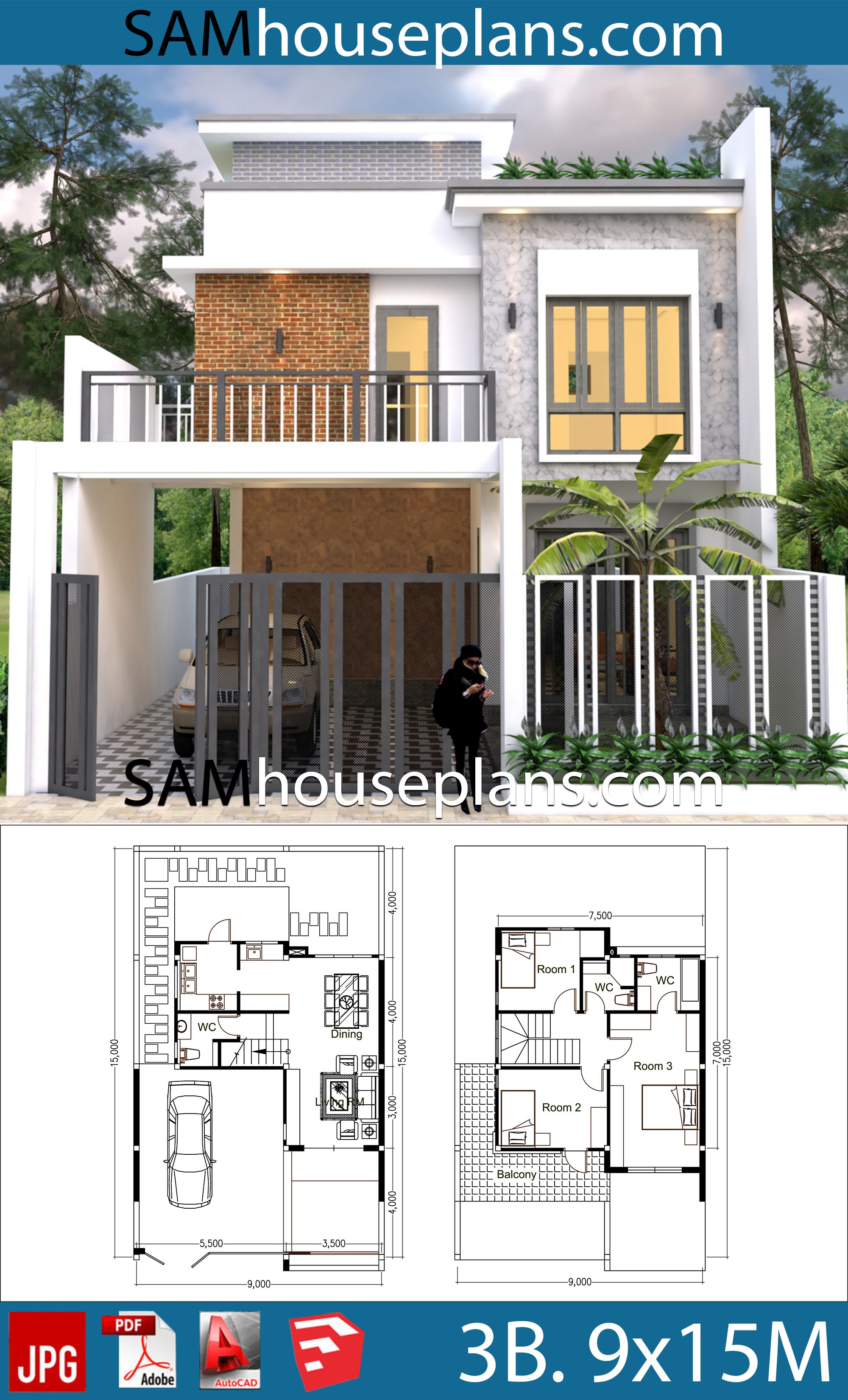 My 3d Room Design: House Plans 9x15 With 3 Bedrooms