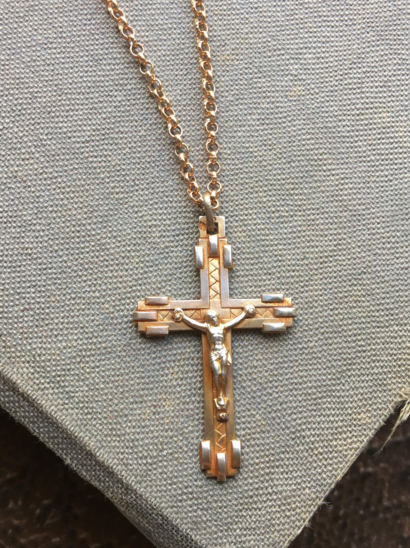 800ed9a79f0 French Crucifix, Cross Necklace, Hallmarked, Jesus Christ, Art Deco, Mens,  Womens, Talisman Gift, Catholic Jewelry, Christian Pendant Amulet by ...