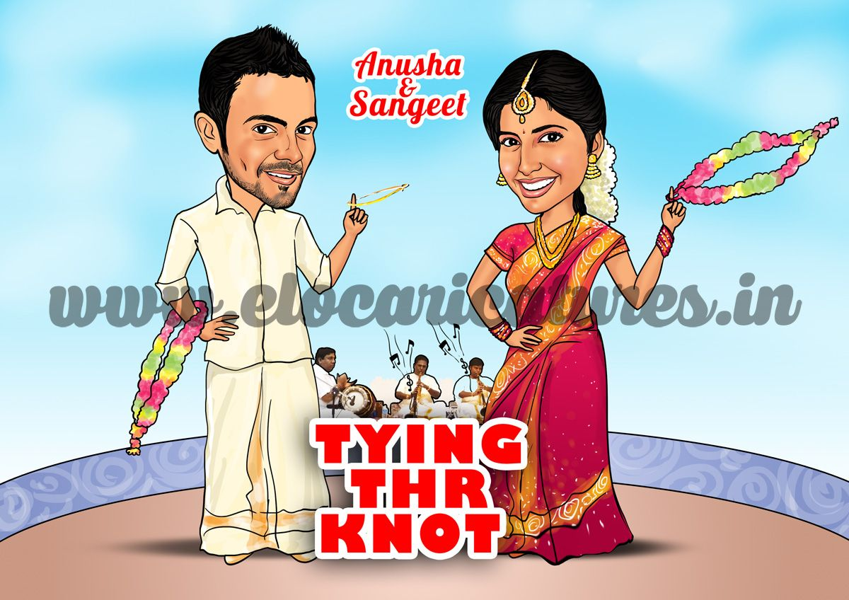 Indian Wedding Caricature Wedding Caricature Cartoon Wedding Invitations South Indian Weddings
